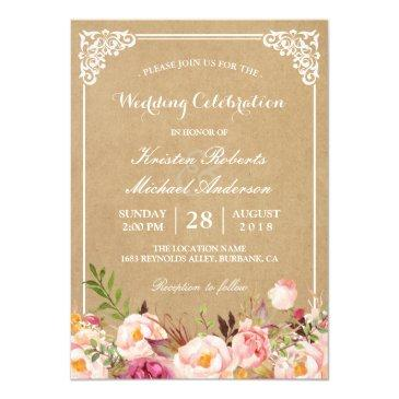 rustic floral frame kraft | wedding celebration