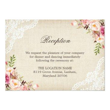 Small Rustic Floral Lace Burlap Reception Accommodation Invitation Front View