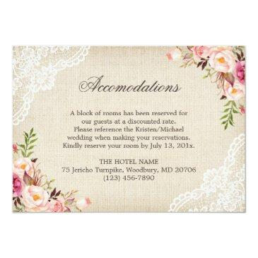 Small Rustic Floral Lace Burlap Reception Accommodation Invitation Back View