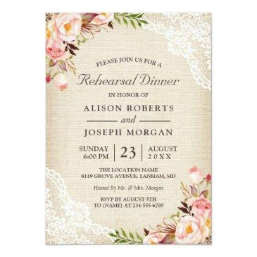 Small Rustic Floral Lace Burlap Wedding Rehearsal Dinner Front View