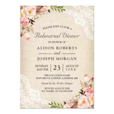 rustic floral lace burlap wedding rehearsal dinner