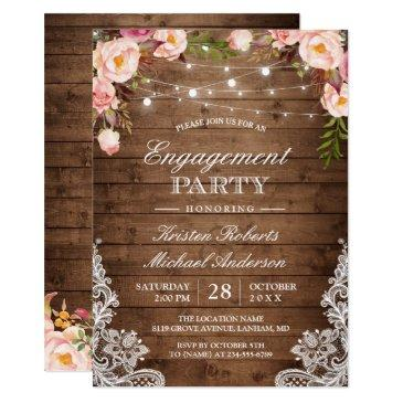 rustic floral lace string lights engagement party
