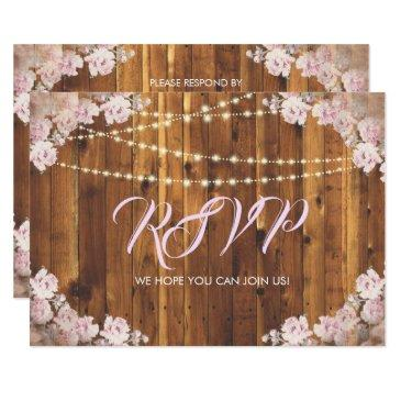 rustic floral light strings wood rsvp reply invitation