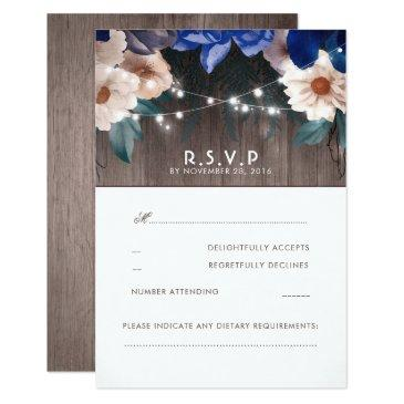 rustic floral string lights blue wedding rsvp