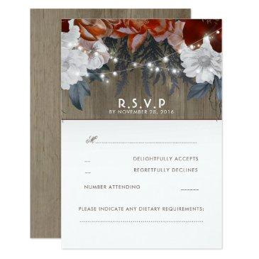 rustic floral string lights wedding rsvp