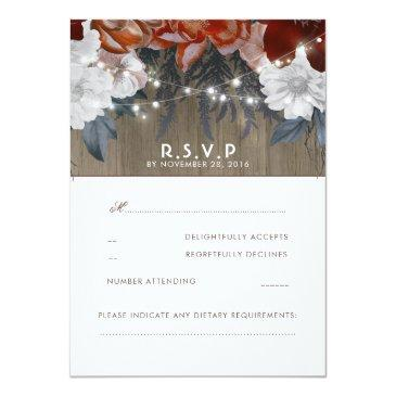 Small Rustic Floral String Lights Wedding Rsvp Invitationss Front View