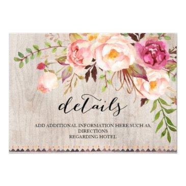 rustic floral wedding information/double-sided