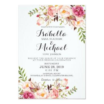 Small Rustic Floral Wedding Invitation Front View