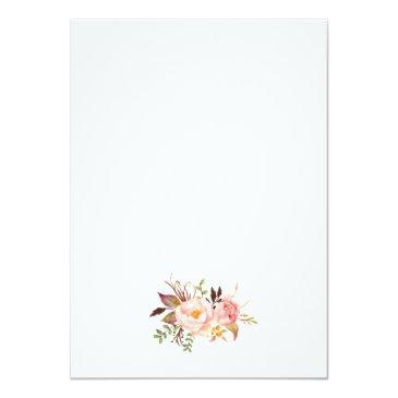 Small Rustic Floral Wedding Invitation Back View