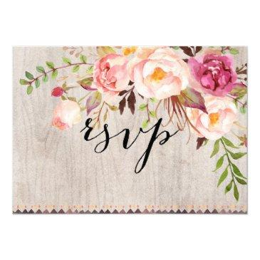rustic floral wedding rsvp/double-sided/with meal invitation