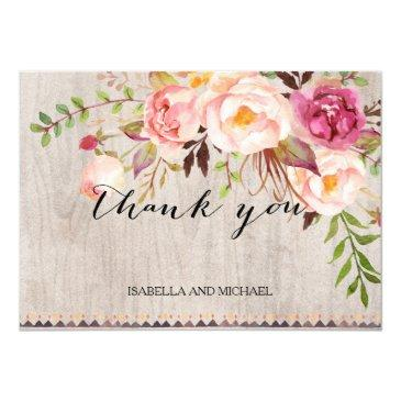 rustic floral wedding thank you/double-sided