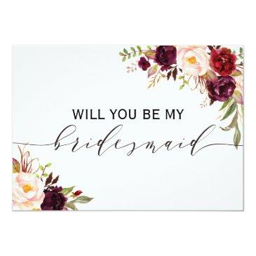 Small Rustic Floral Will You Be My Bridesmaid | 2 Sided Invitation Front View