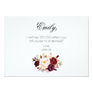 Small Rustic Floral Will You Be My Bridesmaid | 2 Sided Invitation Back View