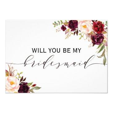 rustic floral will you be my bridesmaid | 2 sided