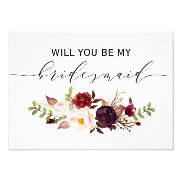 rustic floral will you be my bridesmaid | 2side-2