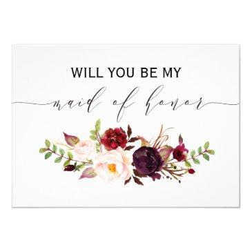 rustic floral will you be my maid of honor 2sided
