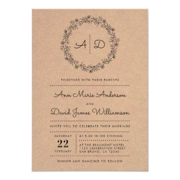 Small Rustic Floral Wreath Wedding Photo Invitation Front View