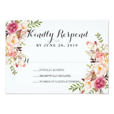 Small Rustic Floral Wreath Wedding Rsvp Front View