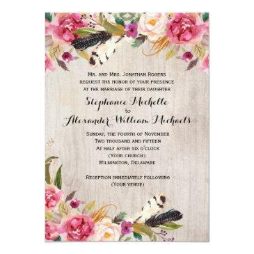 Small Rustic Flowers And Feathers Wedding Invitationss Front View