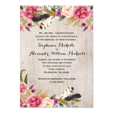 rustic flowers and feathers wedding