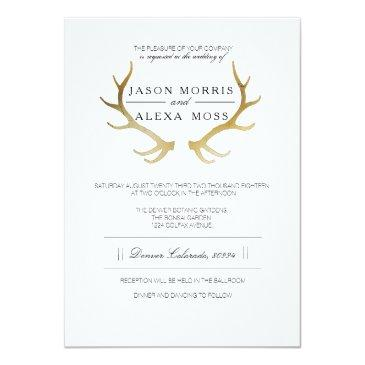 Small Rustic Gold Antler | Elegant Wedding Invitation Front View