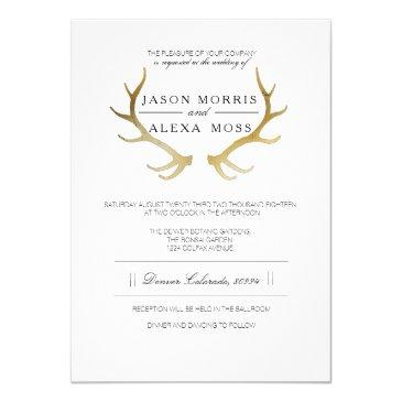 rustic gold antler | elegant wedding invitations
