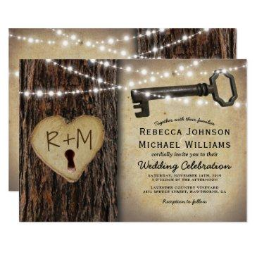 rustic gothic skeleton key & tree heart wedding invitation