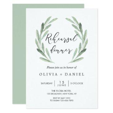 rustic green olive branch wreath rehearsal dinner