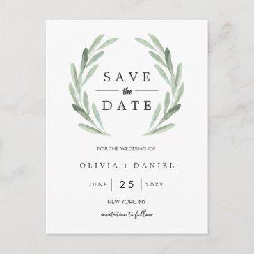 rustic green wreath simple wedding save the date announcement post