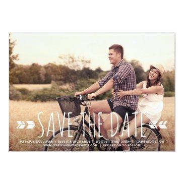 Small Rustic Handwritten Typography Tribal Save The Date Invitationss Front View