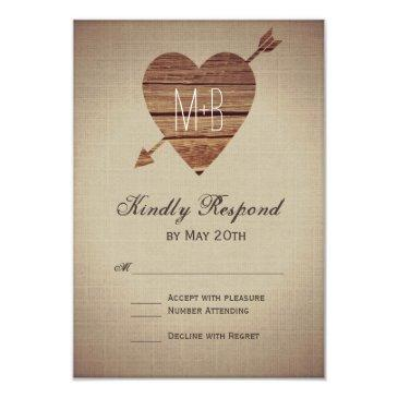 rustic heart arrow country wedding rsvp