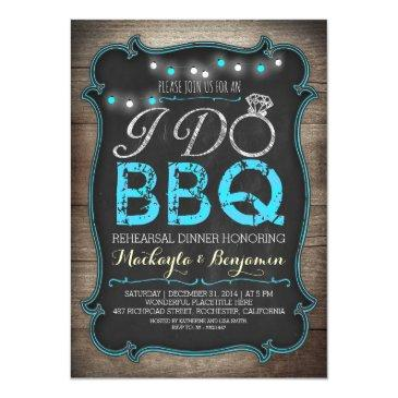 Small Rustic I Do Bbq Rehearsal Dinner Invitations Front View