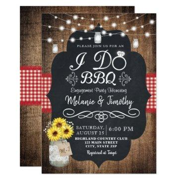 rustic i do bbq sunflower engagement invitation