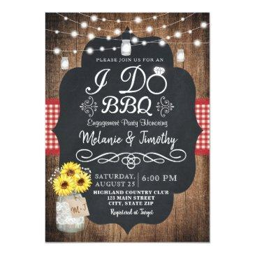 Small Rustic I Do Bbq Sunflower Engagement Invitation Front View
