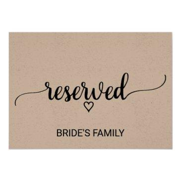 rustic kraft modern calligraphy reserved sign invitations