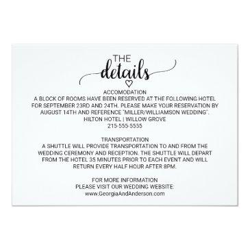 Small Rustic Kraft Modern Calligraphy Wedding Details Invitation Front View