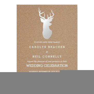 Small Rustic Kraft Paper Silver Antler Wedding Front View
