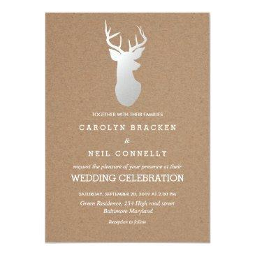 rustic kraft paper silver antler wedding
