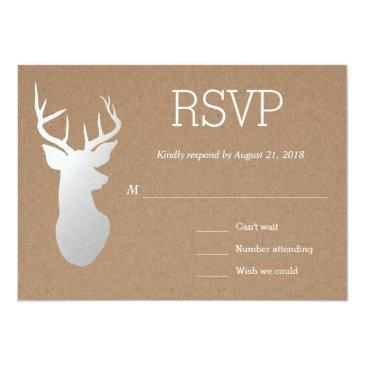 Small Rustic Kraft Paper Silver Antler Wedding Rsvp Invitationss Front View