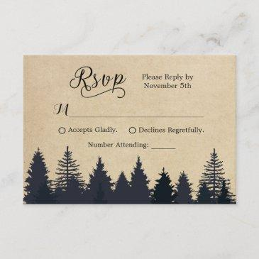 rustic kraft pine trees winter wedding rsvp