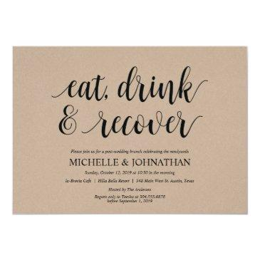 Small Rustic Kraft Post Wedding Brunch Invitation Front View