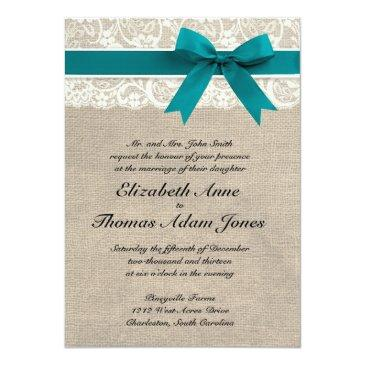 rustic lace burlap wedding invitations turquoise