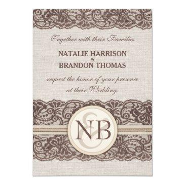 rustic lace wedding invitationss with rsvp
