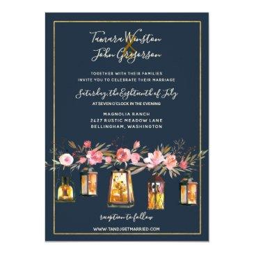 Small Rustic Lanterns Navy Blue Coral Floral Wedding Invitationss Front View