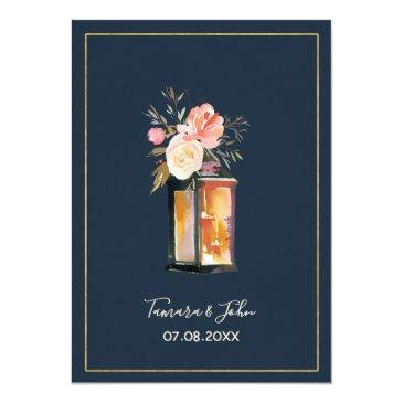 Small Rustic Lanterns Navy Blue Coral Floral Wedding Invitationss Back View