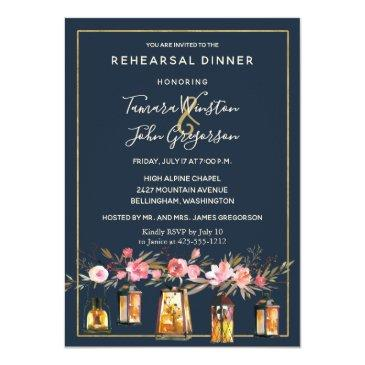 Small Rustic Lanterns Navy Blue Coral Rehearsal Dinner Invitationss Front View