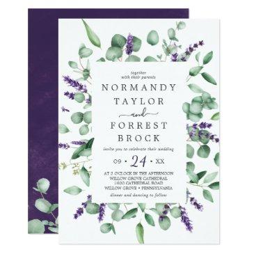 rustic lavender & eucalyptus all in one wedding invitation