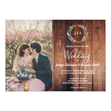 Small Rustic Leaves On Barn Wood Monogram Photo Wedding Invitations Front View