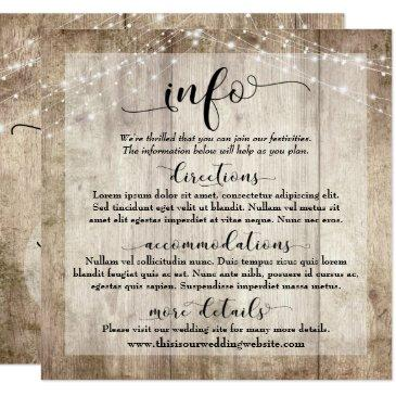 rustic light brown wood w/ lights, wedding info