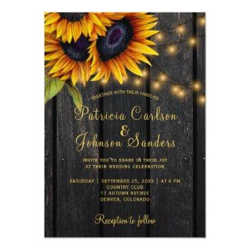 Small Rustic Lights Sunflower Barn Wood Wedding Front View